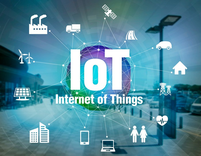 """The letters """"IoT"""" with icons of different devices that are connected."""