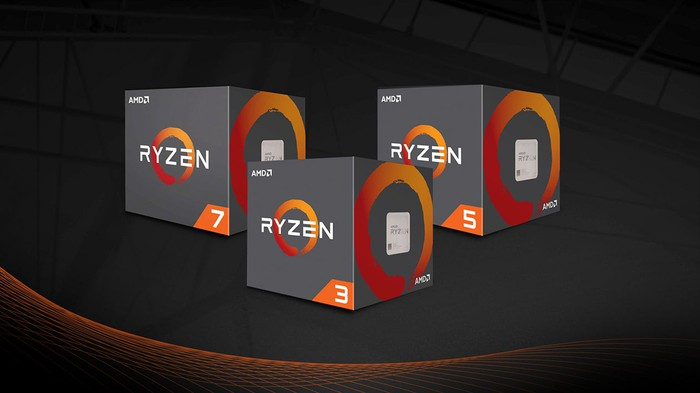 Three boxed AMD Ryzen CPUs.