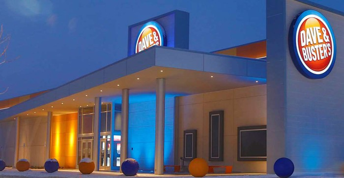 Dave & Buster's location, light with blue highlights without any people.