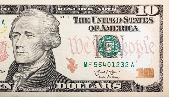 Closeup of $10 bill.