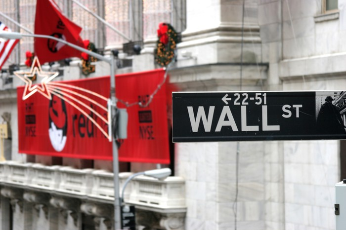A large Red Hat banner behind a street name sign on Wall Street.