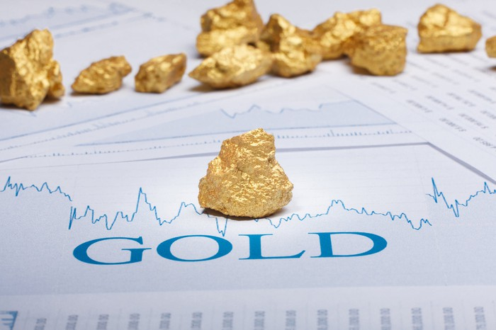Gold rocks with a stock graph in the background.