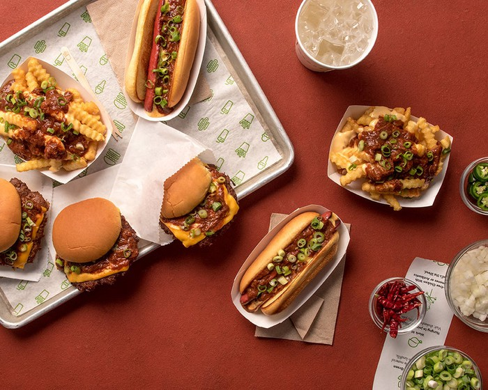 A selection of Shake Shack's new chili menu items