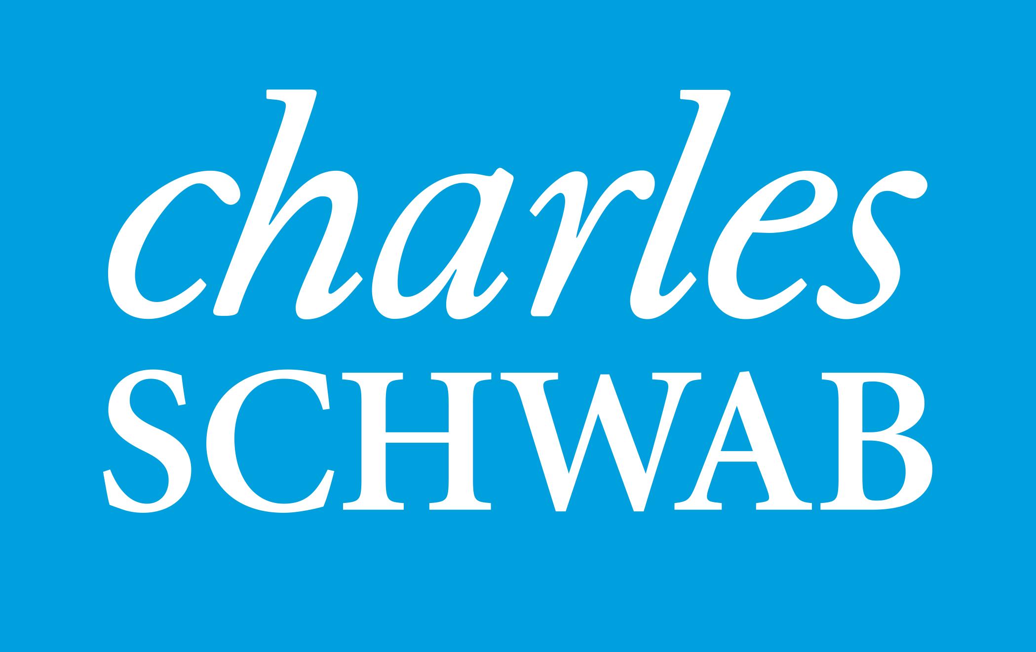 Charles Schwab logo in white lettering on blue background.