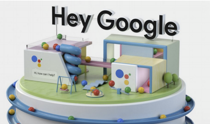 The words Hey Google above a a plastic structure symbolizing a house.