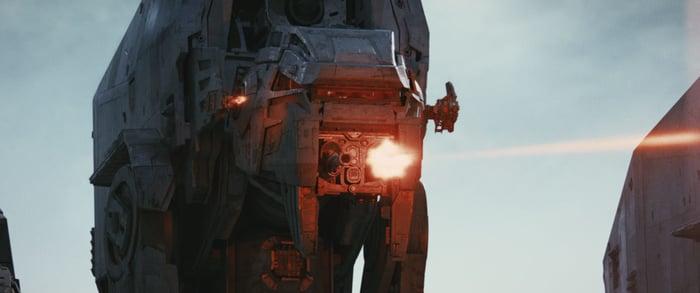 An AT-M6 Walker firing a laser.
