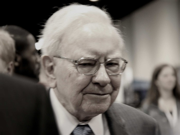Warren Buffett at the Berkshire shareholders meeting.