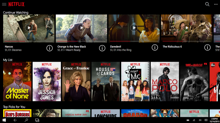 Screenshot of Netflix with list of television shows and movies available.