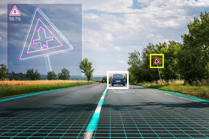 Front view from inside a driverless vehicle traveling on a two-lane road in a rural area, which shows a yellow square around a road sign and a white square around the car in front.