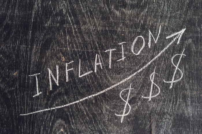 the word inflation on a blackboard, with an arrow going up and dollar signs below the arrow