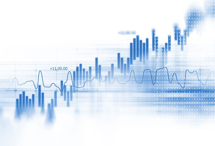 Blue stock chart on white background.