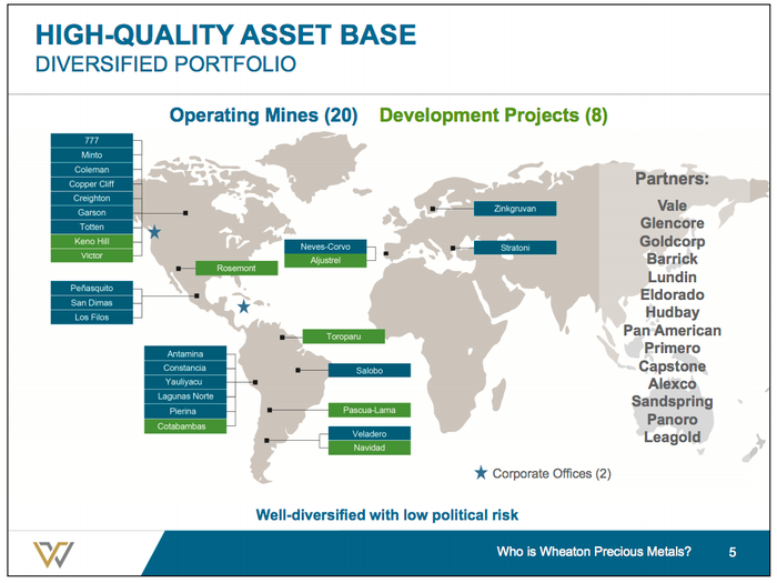A map showing Wheaton Precious Metals' portfolio of investments