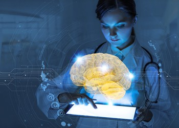 AI - Doctor holding tablet with digital image of brain