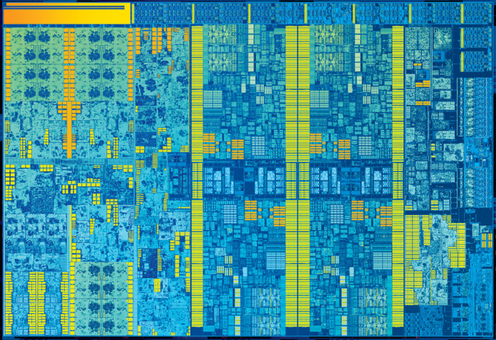 An exposed shot of an Intel chip die.