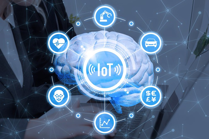 With a human brain as a backdrop, an icon reading IoT is surrounded by other icons representing areas the Internet of Things affects.