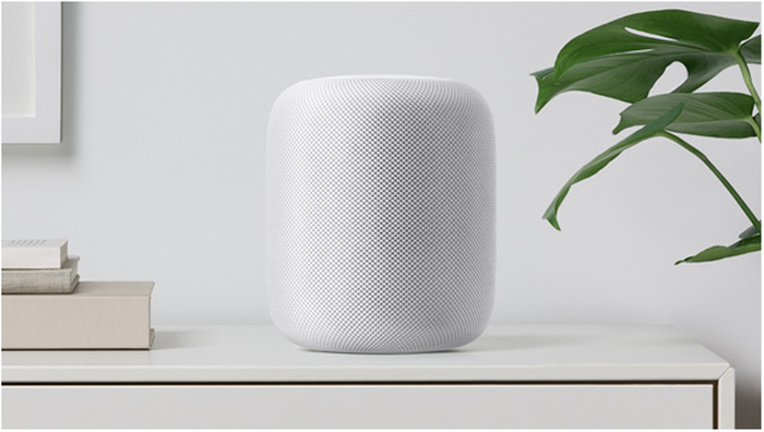 Apple HomePod on a shelf