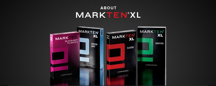 Four MarkTen XL packs, each a different color, on a dark-colored surface.