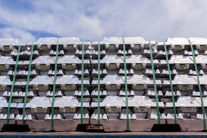 Pallets of aluminum castings.