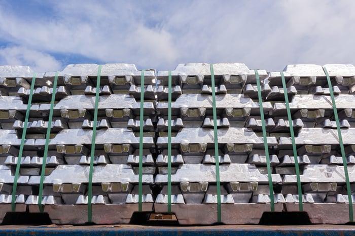 Pallets of aluminum castings.