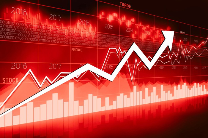 Upward stock graphs on a red background.