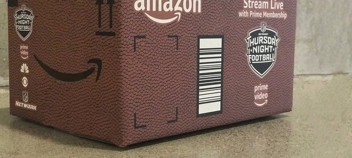 """An Amazon package promoting its """"Thursday Night Football"""" stream."""