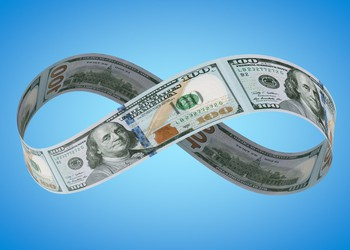 Infinity symbol composed of $100 bills