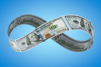 Infinity symbol composed of $100 bills