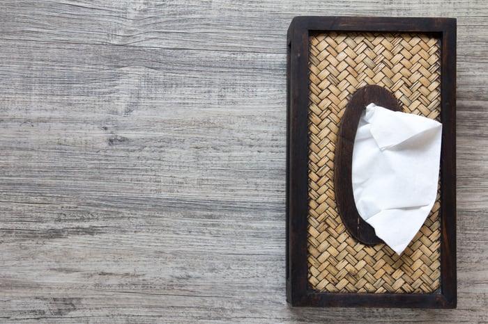 A tissue box.