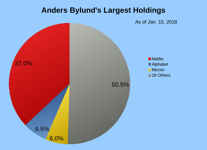 Pie chart showing the author's largest stock holdings, with 37% of his portfolio invested in Netflix, 6.5% in Alphabet, and 6% in Micron Technology.