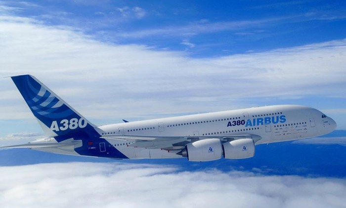 An Airbus A380 in flight