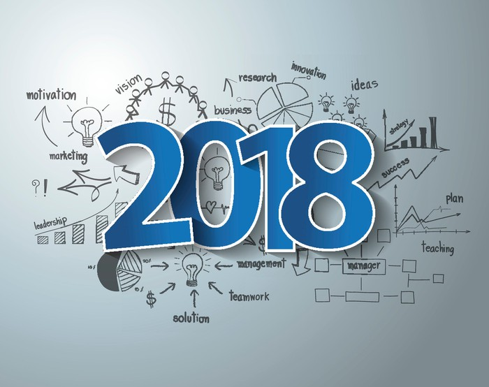 The number 2018 on top of business charts and diagrams