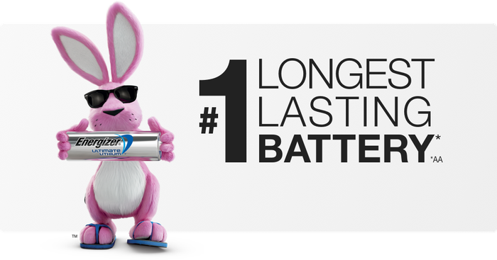 The Energizer bunny holding a battery.