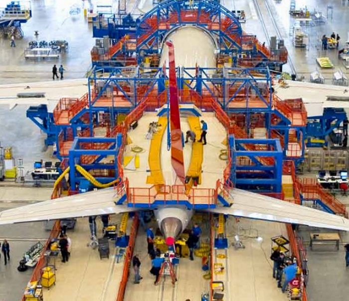 A Boeing 787 under construction.