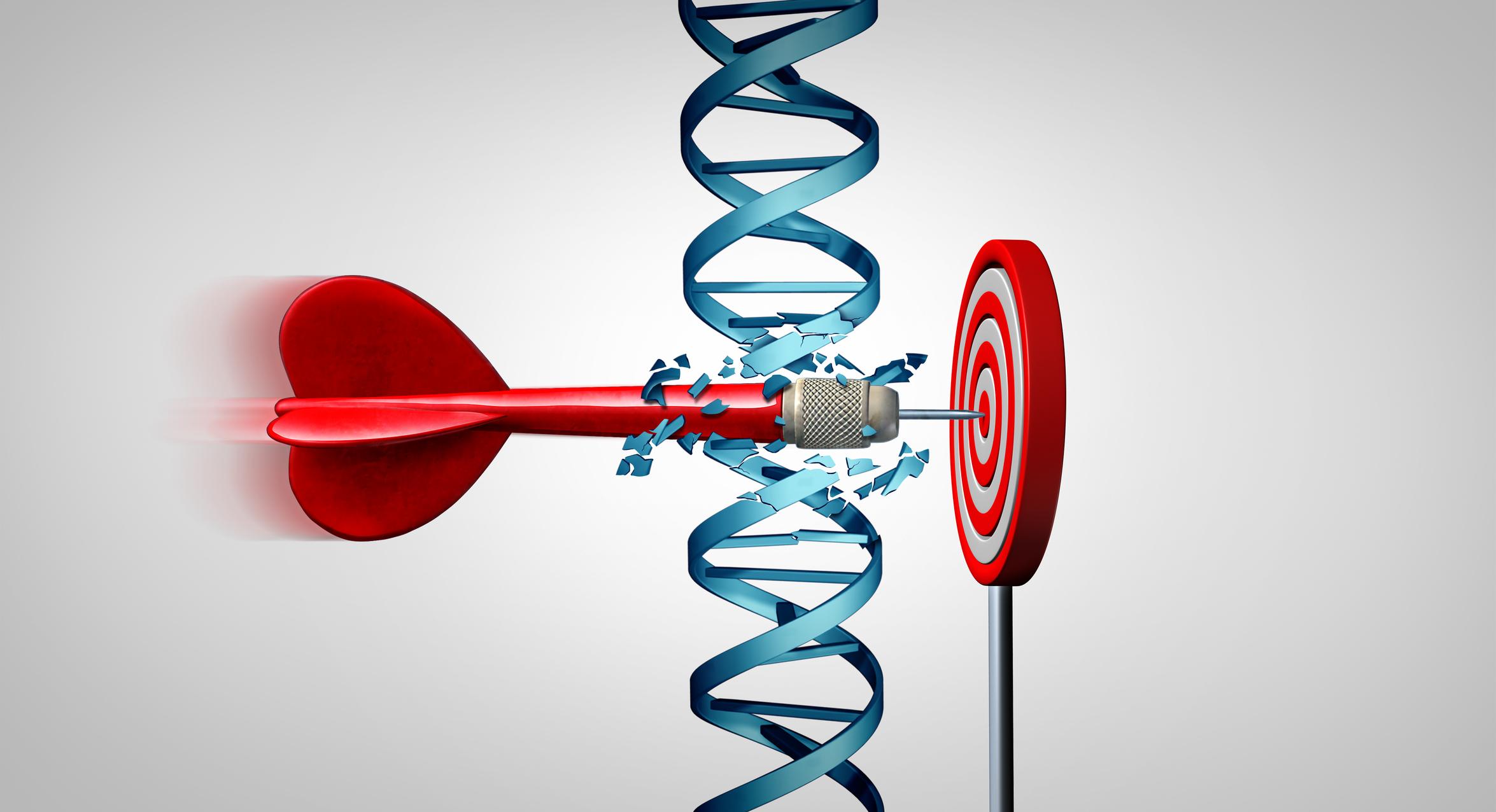 Dart slicing through DNA to hit dartboard