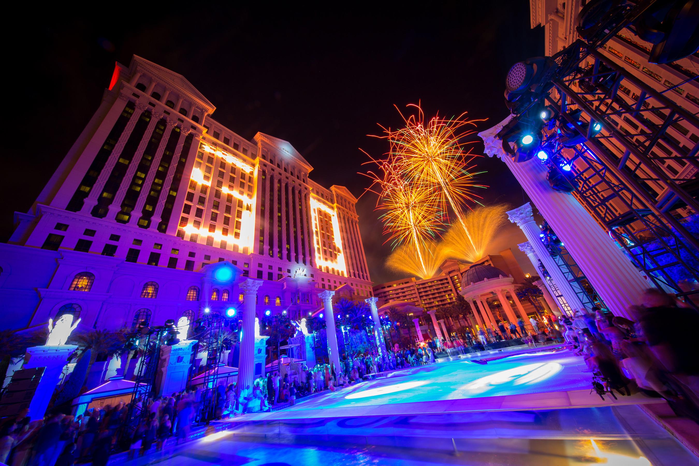 Fireworks display at Caesars Palace in Las Vegas