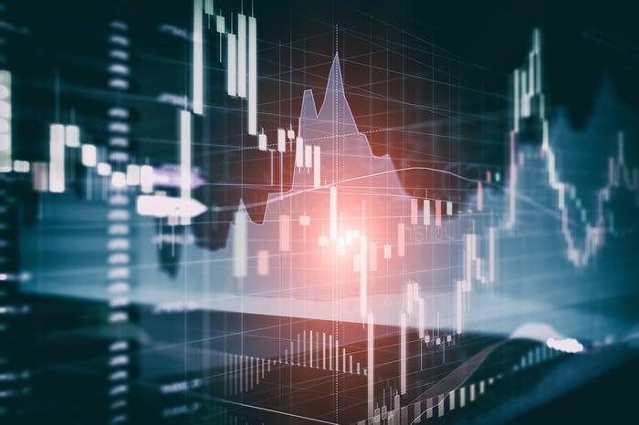 Stock chart on dark background.
