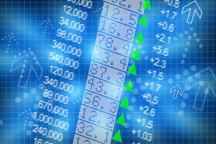 Stock chart with numbers, green triangles and arrows on it.
