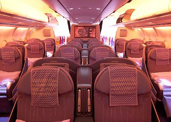 Rockwell Collins main cabin seating with lighting. source COL
