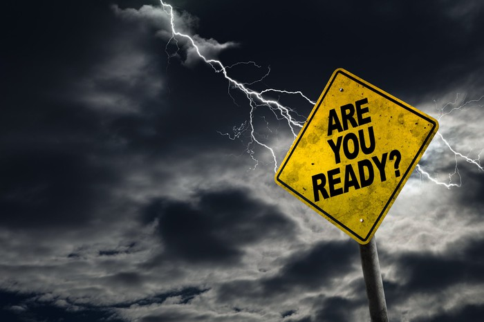 Traffic sign against a dark sky reading are you ready?