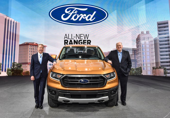 Ford's executive chairman, Bill Ford, and CEO Jim Hackett posed with the new Ranger in Detroit on Sunday, January 14, 2018.