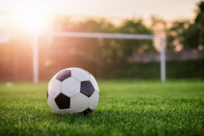 A soccer ball sitting on the grass in front of a goal.