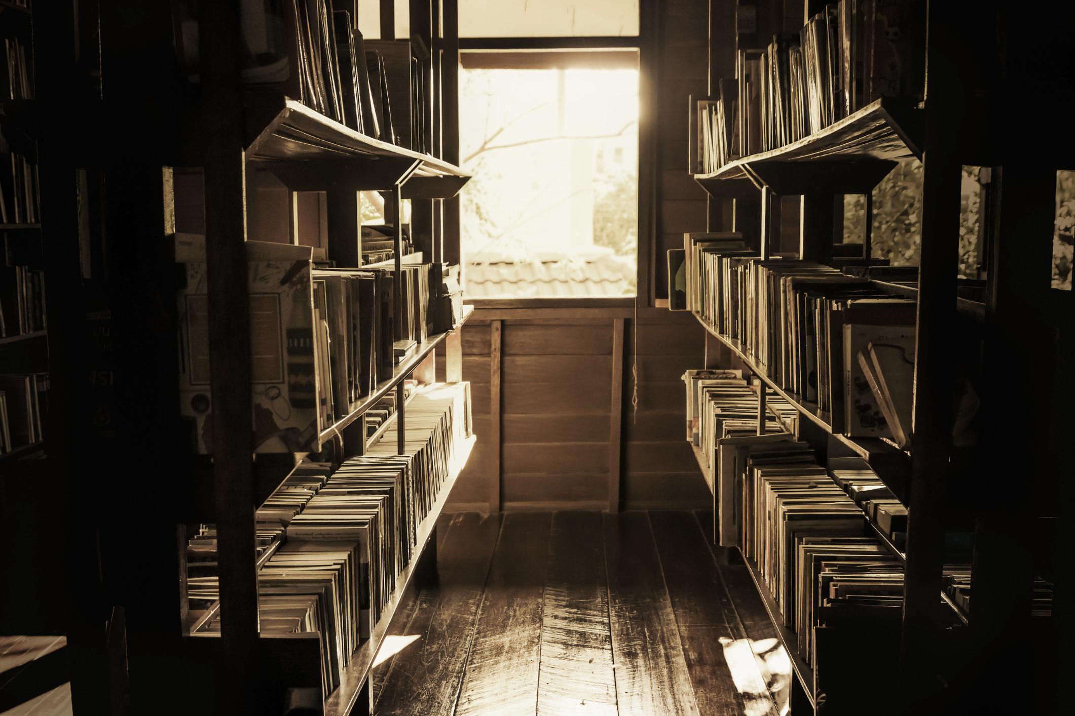 Books on a shelf in a bookstore
