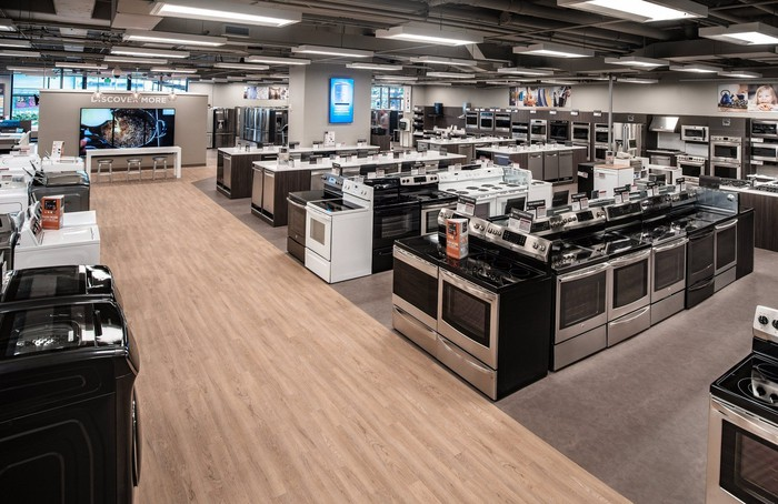 An appliance showroom in a small-format Sears store