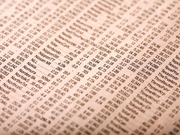 Stock quotes in newspaper