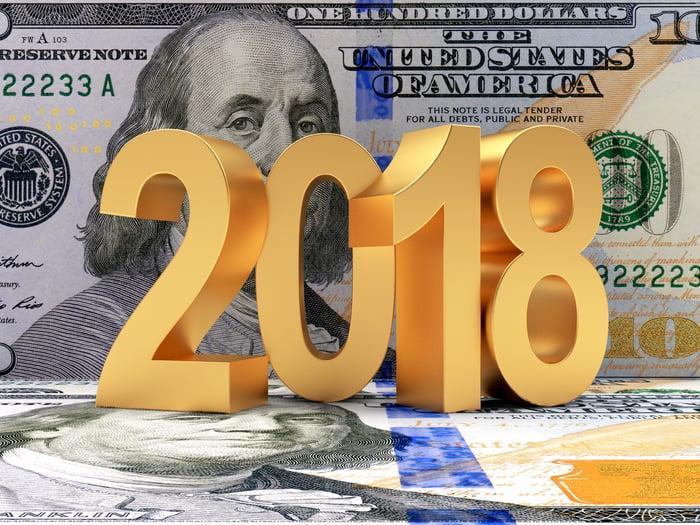 The numbers 2018 on top of U.S. $100 bills.
