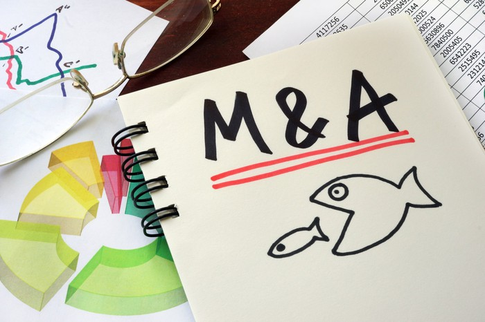 Notebook with M&A written and drawing of big fish about to swallow little fish