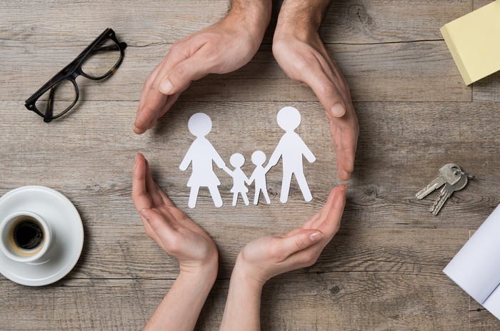 Two sets of hands making a circle around cut outs of paper figures of a man, woman, and two children holding hands.