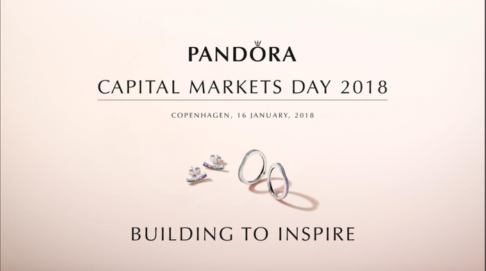 Cover page from Pandora's Capital MArkets Day 2018 with  the words Building to Inspire.