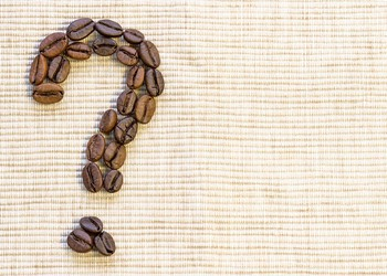 Coffee beans in a quesion mark