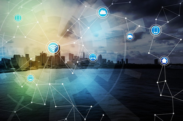 A graphical depiction of a connected smart city.